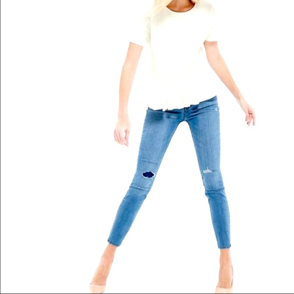 J Crew Toothpick Distressed Patched Skinny jean